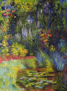 Corner of Water-Lily Pond - Claude Monet Paintings Claude Monet, Monet Paintings, Landscape Paintings, Abstract Paintings, Painting Art, Van Gogh Pinturas, Artist Monet, Arte Van Gogh, Pierre Auguste Renoir