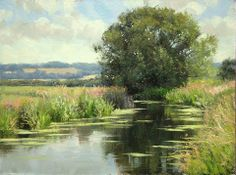 """Summer clouds"" (2014) By Peter Barker, from Banbury, Oxfordrshire, England (current location, South Luffenham, England) - oil on canvas; 9 x 12 in - http://www.peterbarkerpaintings.co.uk/"