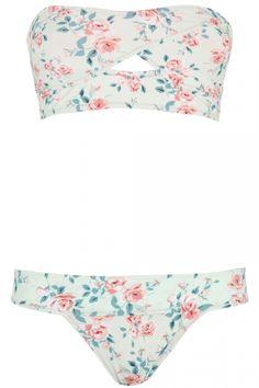 2137b704e3 Primark Floral Peephole Longline Bandeau Top, £4 And Pants, £3 Bandeau  Bikini