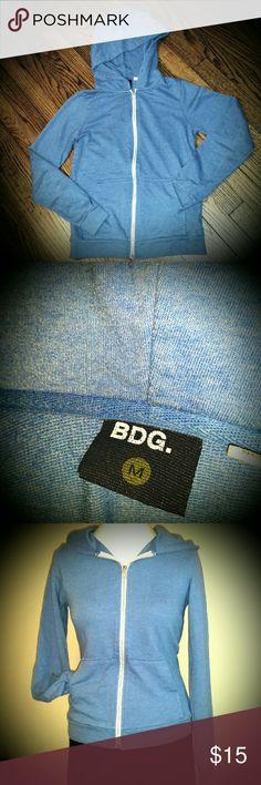 BDG Blue Hoodie Pretty dusty blue hooded zip front sweatshirt by BDG. BDG Sweaters
