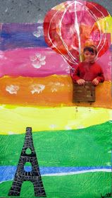 Cassie Stephens: In the Art Room: The Art Show Part 1. Cute idea to include a photo of the artist in a hot air balloon flying over Paris.