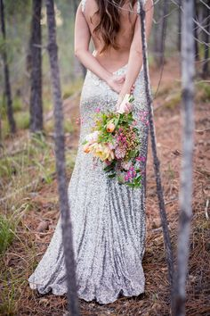 Hello SEQUIN WEDDING DRESS!!?! Designed by Kobus Dippenaar for Anna Georgina, this backless sequined wedding dress will break you heart! See the entire Gorgeous Glitter Wedding in the Forest by Tasha Seccombe Photography here.