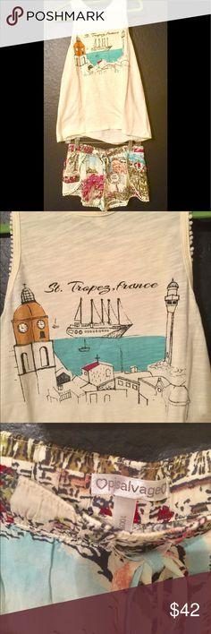 PJ Salvage Pajamas Set Shorts & Tank France beach Adorable and comfy- cute PJ Salvage details like mini pom-poms at hems.  Set is brand new with tags. PJ Salvage Intimates & Sleepwear Pajamas
