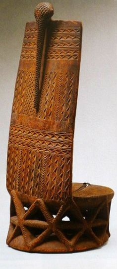 Africa | High back stool from the Tabwa people of Zaire | Late 19th century | Wood