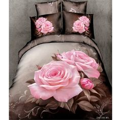 Pink rose 3d bedding sets 40s bed set cotton fabrics home textile green bed linens king queen size economic beding set 3_d 2900
