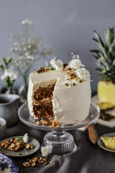 SPICED CARROT CAKE WITH GRILLED PINEAPPLE AND BROWN SUGAR MASCAPONE FROSTING