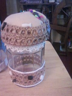pincushion jar/  with Vintage lace /With some fun by TheFunkyGypsy, $21.00