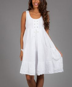 Another great find on #zulily! White Farah Linen Peasant Dress #zulilyfinds