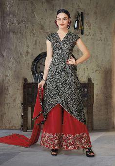 Black Cotton Palazzo Style Suit 70486