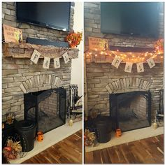 Love my fireplace mantle, all decorated for fall! September, 2016 #Halloween #autumn #fall #fireplace #home