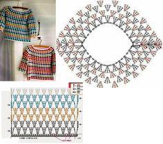 Gilet Crochet, Crochet Yoke, Crochet Skirts, Crochet Jacket, Crochet Diagram, Crochet Blouse, Crochet Clothes, Crochet Stitches Chart, Granny Square Crochet Pattern