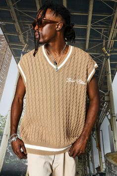 Knit Vest, Center Stage, Sweater Shop, Cable Knit, Fashion Forward, Street Wear, Bomber Jacket, Trousers, Gift Ideas