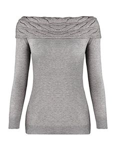 OUGES Women's Long Sleeve Off Shoulder Knit Pullover Sweater(Gray,S)