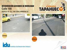 Intervención Acciones de Movilidad en la Calle 100 con Carrera 22. #TapaHuecos