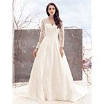 Lanting Bride® A-line Wedding Dress Court Train Scoop Satin with Appliques 2016 - $169.99