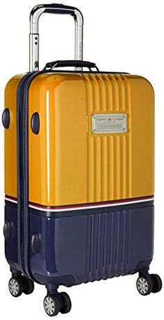 Tommy Hilfiger Duo Chrome 21 Inch Spinner CarryOn Luggage YellowNavy One Size -- You can find more details by visiting the image link. Calpak Luggage, Best Travel Luggage, Luggage Brands, Luggage Store, Carry On Luggage, Luggage Sets, Designer Travel Bags, Hard Suitcase, Cute Suitcases