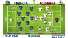 1/4 de Final: Partido Francia vs Alemania Alineaciones titulares y sistemas de juego