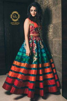Colourful Striped Crop Top and Lehenga for Mehendi