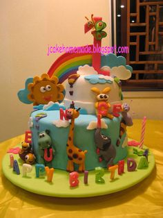 Cake Kids and Baby Images - Baby Cake Images Baby Tv Cake, Baby Cake Pops, Pretty Cakes, Beautiful Cakes, Amazing Cakes, Africa Cake, Noahs Ark Cake, Zoo Cake, Foundant