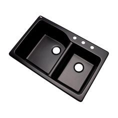 Grande Drop-In Composite Granite 34 in. 3-Hole Double Bowl Kitchen Sink in Black