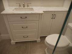 A Space Saving Vanity With Plenty Of Storage, Our Signature Shaped Custom Bathroom  Vanity Is