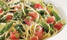 Angel Hair Pasta with asparagus, spinach, cherry tomatoes. Tossed in garlic olive oil. Garnished with parmesan cheese. From CPK