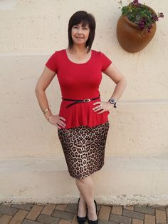 Red peplum for the office and leopard print skirt with black patent bow pumps