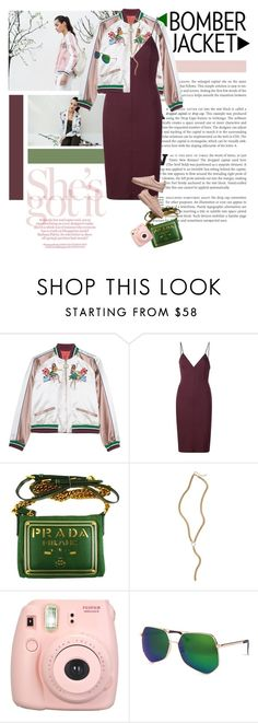 """""""Bomber jacket + dress"""" by minnie-me ❤ liked on Polyvore featuring T By Alexander Wang, Prada, Five and Two, Fujifilm, Grey Ant, StreetStyle, sneakers and bomberjackets"""
