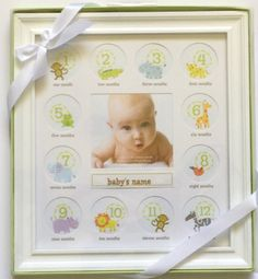 Stepping Stone Baby's First Year Picture Frame (White Frame with Room to Add Baby's Name)