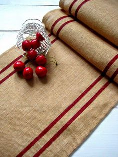 Striped burlap runner