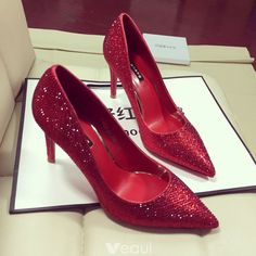 On the off chance that you need to wear your red shoes to work or for an easygoing walk around the square, a straightforward red siphon. Red High Heels, Red Pumps, Red Shoes, Pointed Toe Pumps, Stiletto Heels, Red Bridal Shoes, Wedding Shoes, Pump Shoes, Shoes Heels