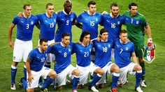Italy line up before the UEFA EURO 2012 final against Spain.