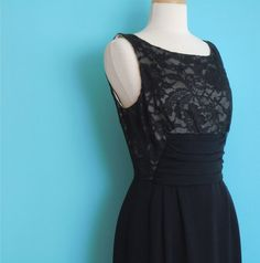 vintage 60's black lace low back fitted dress