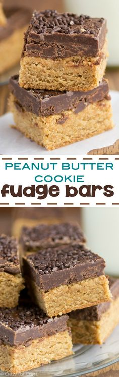 Peanut Butter Cookie Fudge Bars - easy peanut butter bar cookies topped with chocolate fudge! This is one indulgent cookie bar recipe!