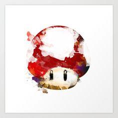 Super Mushroom Watercolor Art Print by Insomniac - $17.68