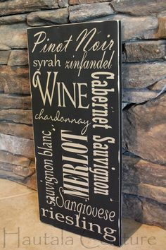 Rustic Typography Hand Painted Types of Wine Decor. $40.00, via Etsy.