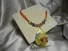 Necklace Yellow Shell Pendant with a Floral by Alisonsjewelryshop, $7.98