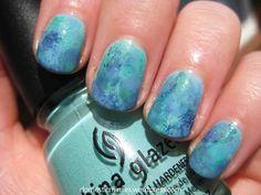 Ocean watercolour nails