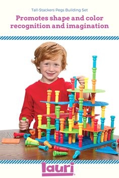 Use Lauri Tall-Stackers to help your toddler improve their fine motor skills with activities like shape and color recognition, imagination, and more! Indoor Activities, Sensory Activities, Toddler Activities, Sensory Boxes, Games For Toddlers, Color Shapes, Classic Toys, Toddler Crafts, Fine Motor Skills