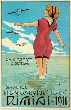 C. Medici Grande Riunione Aviatoria Rimini 1911 Cartolina Illustrata 9 x 14 Lit. Prina e Bresciani Milano Rimini Raccolta Privata