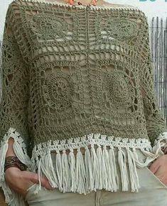 Crochet Top Crochet Poncho Top - A Handmade Crochet Made to Order Cardigan Au Crochet, Gilet Crochet, Black Crochet Dress, Crochet Poncho Patterns, Crochet Shawls And Wraps, Crochet Cardigan, Crochet Scarves, Crochet Clothes, Crochet Hats