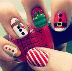 Cute Christmas Nails, Christmas Manicure, Holiday Nail Art, Xmas Nails, Christmas Nail Art Designs, Santa Nails, Christmas Candy, Merry Christmas, Diy Christmas