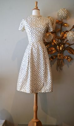 Vintage 50s Dress / 1950's Black and White Polka by xtabayvintage, $198.00