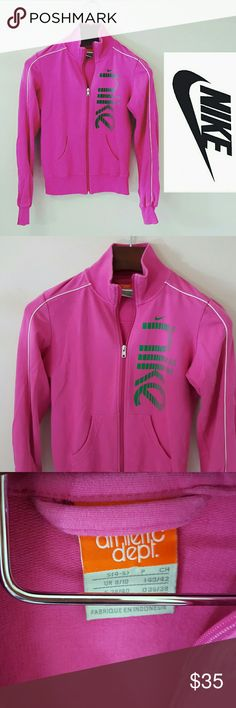 *SALE* Nike | pink zip up track jacket In excellent condition! Nike zip up jacket, size small. Green logo.  Bundle up! Offers always welcome:) Nike Tops Sweatshirts & Hoodies