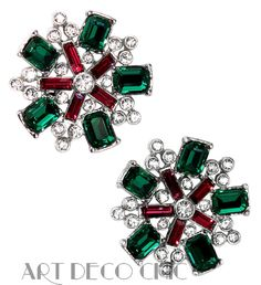 1940s Trifari Retro Ruby, Emerald & Diamante Paste Snowflake Clip Earrings ~NR~ #Trifari #RetroModerne #ChristmasEarrings