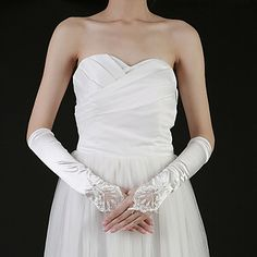 Beautiful Satin Fingertips Elbow Length Bridal Gloves With Beading (More Colors) – USD $ 7.51