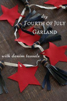 DIY Fourth of July Garland with Denim Tassels