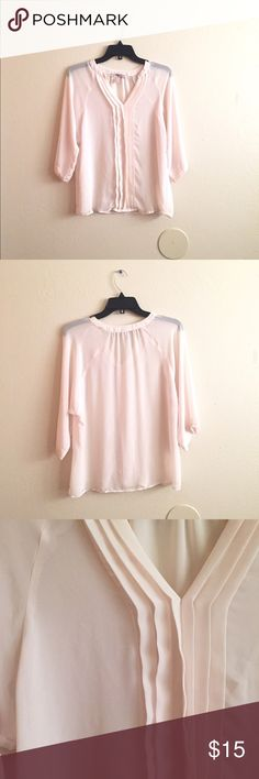 Beautiful Blush Top Very pretty blush top in great condition! Only worn once. Loose fit. Tag says XS but fits like a Small. Sheer and very lightweight. Forever 21 Tops Blouses