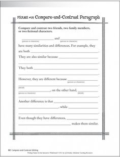first grade compare and contrast writing template - Google Search
