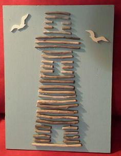 Beachy Folk Art Driftwood Lighthouse. Cute idea for a kids' craft.